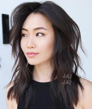 Asian Medium Hairstyles With Textured Waves