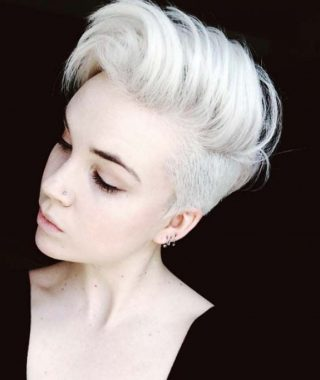 Flipped Up Platinum Blonde Pixie Haircuts