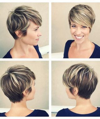 Dark Pixie Haircuts With Blonde Highlights