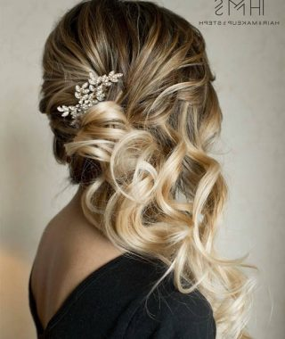 Curled Side Updo Hairstyles With Hair Jewelry
