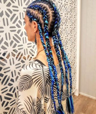 Blue Braided Festival Hairstyles