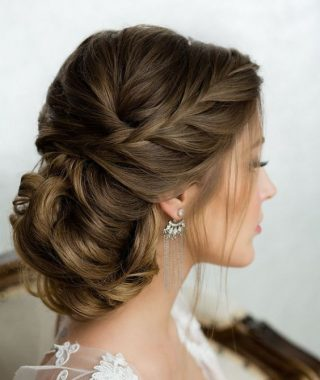 Low Twisted Bun Wedding Hairstyles For Long Hair