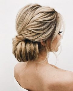 Twisted Low Bun Hairstyles For Wedding