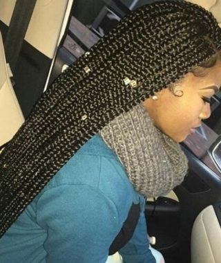 Super-Long Dark Braids With Cuffs
