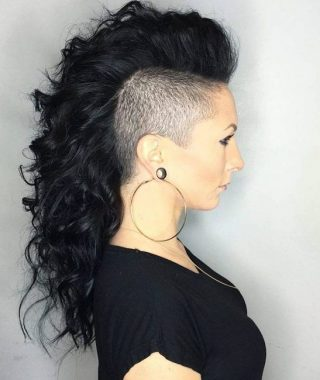 Side-Shaved Long Hair Mohawk Hairstyles