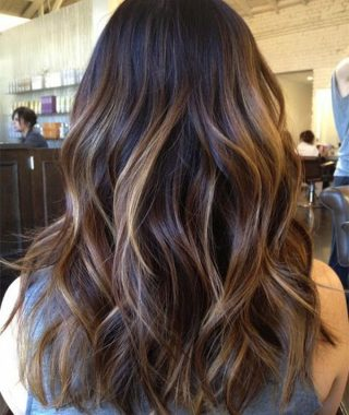 Long Thick Black Hairstyles With Light Brown Balayage