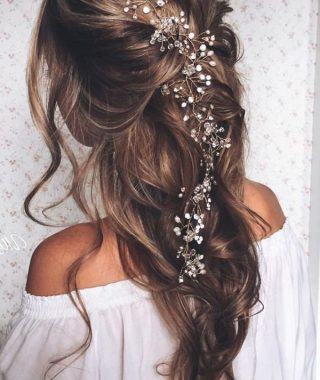 Pulled Back Layers Bridal Hairstyles With Headband
