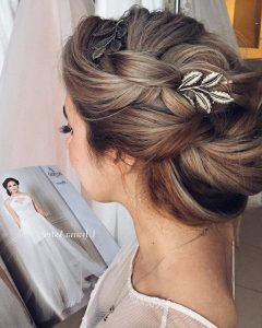 Woven Updos With Tendrils For Wedding