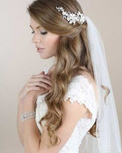 Veiled Bump Bridal Hairstyles With Waves