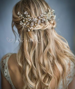 Pulled Back Half Updo Bridal Hairstyles With Comb