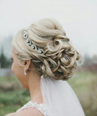Bridal Chignon Hairstyles With Headband And Veil