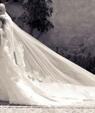 Wedding Hairstyles With Extra-Long Veil With A Train