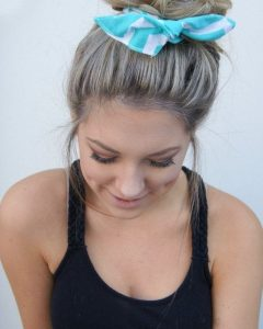 Side Top-Knot Ponytail With Copper Wire Wraps